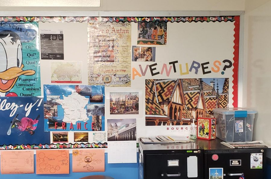 The wall is currently being renewed with new posters promoting travel.Madame Zeitz and Madame Williams wall also include various types of art, historical places, and vocabulary.