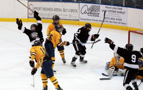 Three stars from Woodbridge Township's 2018-2019 team celebrates after scoring a goal. This year's group is expected to have an even better season than the last.