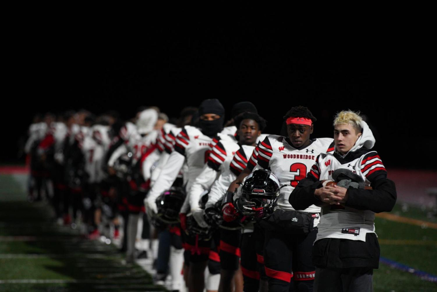 The Barrons lost against Northern Highlands with a  score of 37-7. The Barrons were lined up getting ready to play against Northern Highlands.