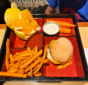 On the children's menu, the bento box meal includes oranges that are cut and assembled to look like a teddy bear. This was found really entertaining to the customer.