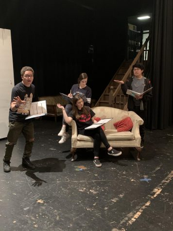The Spring Musical cast is rehearsing diligently for the next scene. They have been working hard to make sure that they give out the best performance.