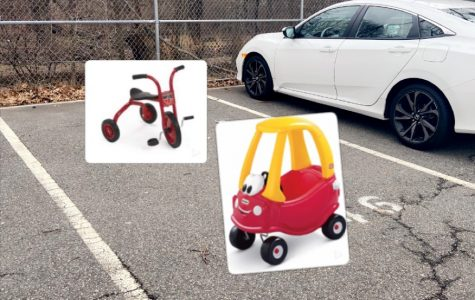 Tricycles and toddler cars fill the parking lot. Pokemon cards and hot wheel cars were found scattered throughout their spaces.