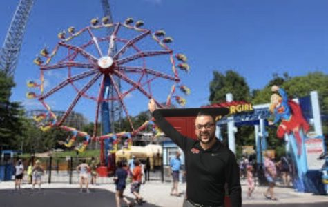 Mr. Jago stepping into Six Flags and pointing to the rides. Now that he is of height, he decided to buy a season pass to go every weekend.