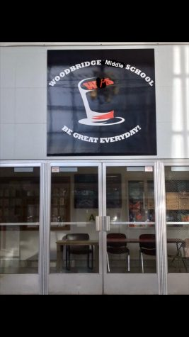 New Woodbridge Middle School sign in the main lobby. Woodbridge High School finally renamed to a more suitable name.