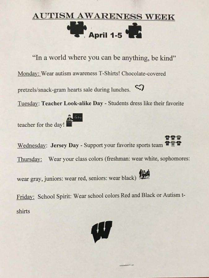 Posters regarding Autism Awareness Week were posted all over the school. Students and Teachers were seen wearing