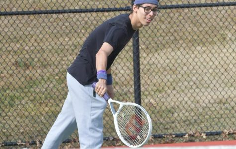 Ryan Silva practices before a big match against Spotswood. Ryan has enjoyed playing varsity tennis for the past three years.