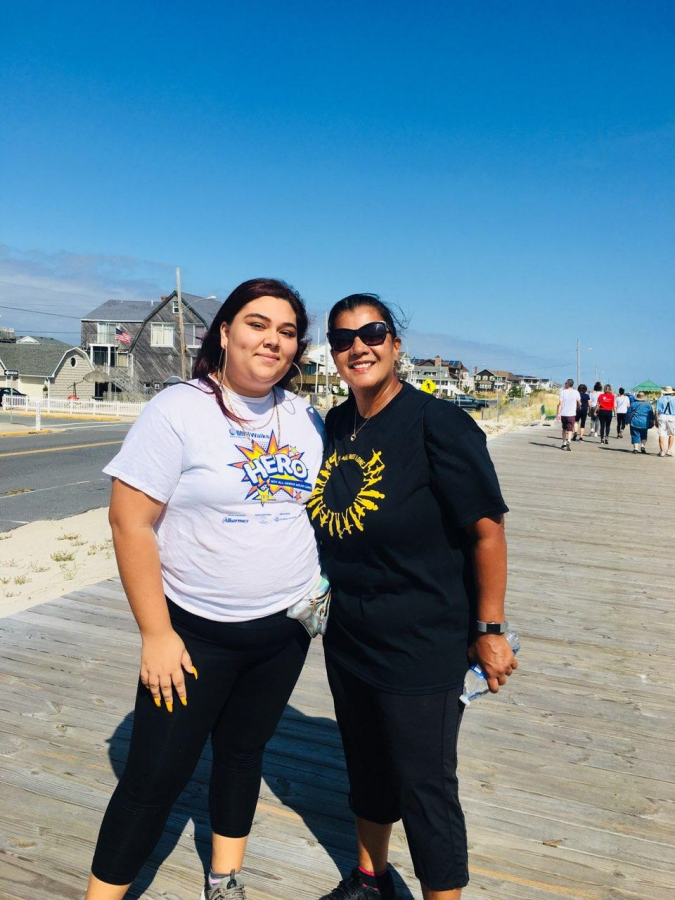 Señora Ramos and student attending the walk that took place at Seaside Park in Ocean County