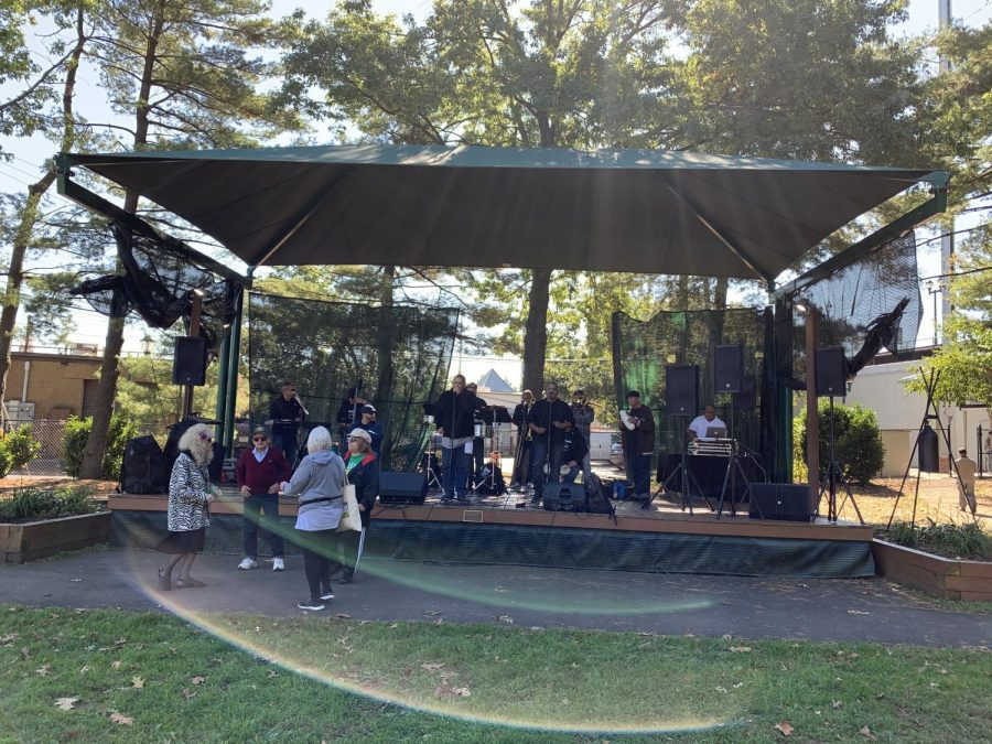 A Latin band performs at the Hispanic Heritage Festival. Every year, a band has been present at the event.