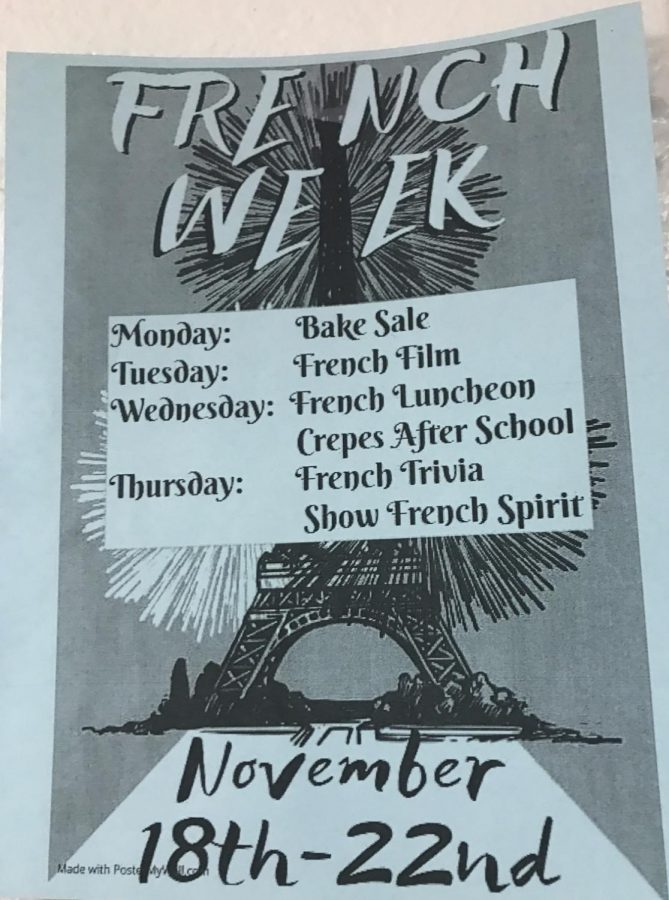 The+French+Honor+Society+display+flyers+on+French+Week+throughout+WHS.+