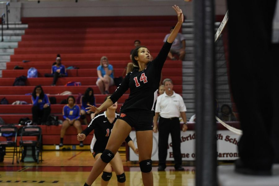 Millie is setting up to spike the ball. She had 94 kills throughout the season.