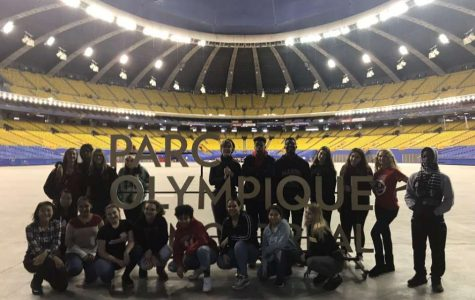 Students in the Olympic Stadium in Montreal.