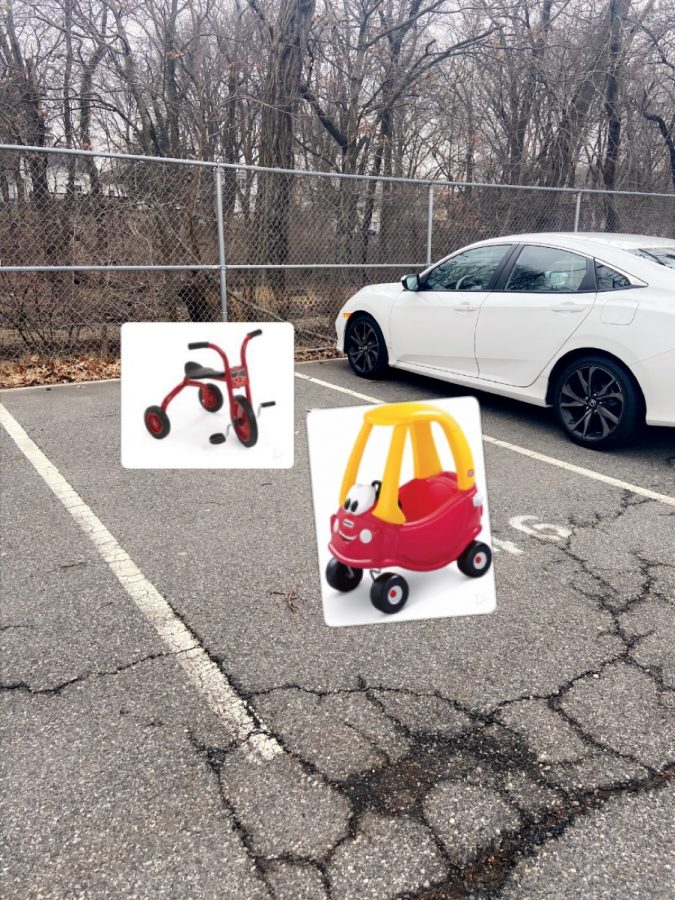 Tricycles+and+toddler+cars+fill+the+parking+lot.+Pokemon+cards+and+hot+wheel+cars+were+found+scattered+throughout+their+spaces.